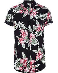 Camisa de manga corta con print de flores