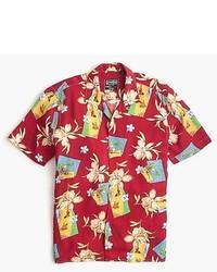 Camisa de manga corta con print de flores roja