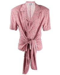 Camisa de manga corta con print de flores rosada de Magliano