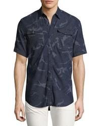 Camisa de manga corta de cambray azul marino