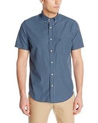 Camisa de manga corta de cuadro vichy azul de Nautica