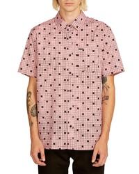 Camisa de manga corta de cuadro vichy rosada