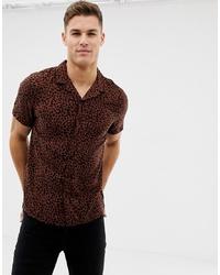 Camisa de manga corta de leopardo en marrón oscuro