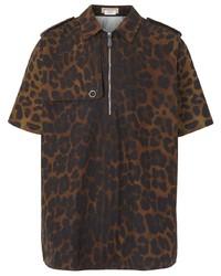 Camisa de manga corta de leopardo marrón de Burberry