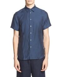 Camisa de manga corta de lino azul marino
