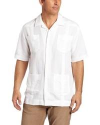 Camisa de Manga Corta de Lino Blanca de Cubavera