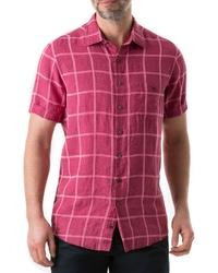 Camisa de manga corta de lino rosa