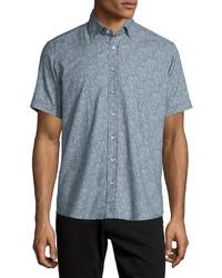 Camisa de manga corta de paisley azul