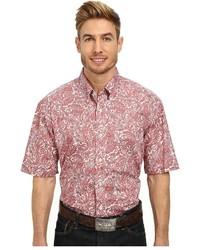 Camisa de manga corta de paisley rosada