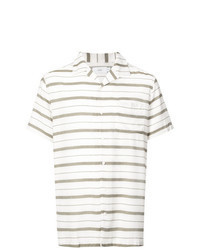Camisa de manga corta de rayas horizontales blanca