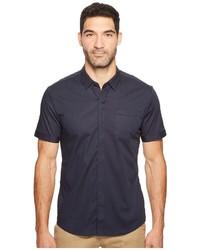 Camisa de manga corta de rayas verticales azul marino