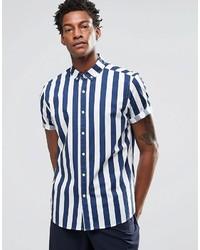 Camisa de manga corta de rayas verticales azul