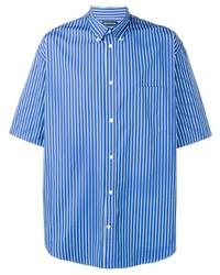 Camisa de manga corta de rayas verticales azul de Balenciaga