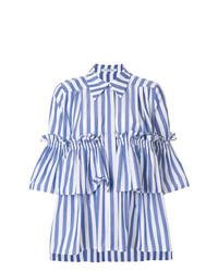 Camisa de manga corta de rayas verticales azul de Vivetta