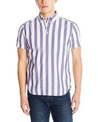 Camisa de manga corta de rayas verticales blanca