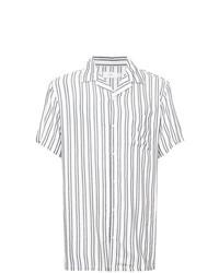 Camisa de manga corta de rayas verticales blanca de Onia