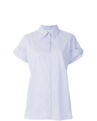 Camisa de manga corta de rayas verticales celeste