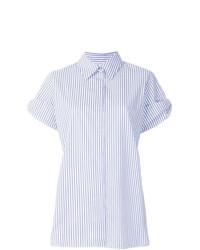 Camisa de manga corta de rayas verticales celeste de Victoria Victoria Beckham
