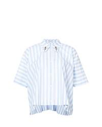 Camisa de manga corta de rayas verticales celeste de Vivetta