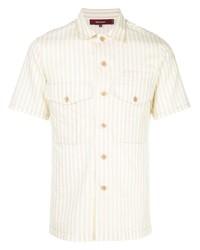 Camisa de manga corta de rayas verticales en beige de Sies Marjan