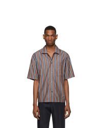 Camisa de manga corta de rayas verticales marrón