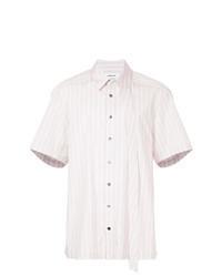 Camisa de manga corta de rayas verticales rosada