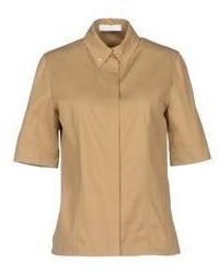 Camisa de manga corta de seda marrón