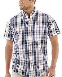 Camisa de manga corta de tartán azul marino