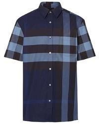 Camisa de manga corta de tartán azul marino de Burberry