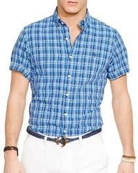Camisa de manga corta de tartán azul
