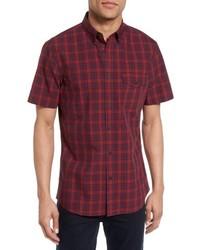 Camisa de manga corta de tartán burdeos