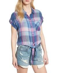 Camisa de manga corta de tartán celeste