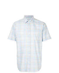 Camisa de manga corta de tartán celeste de Gieves & Hawkes