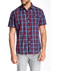 Camisa de manga corta de tartán en rojo y azul marino
