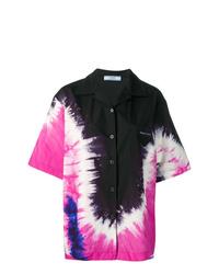 Camisa de manga corta efecto teñido anudado negra de Prada