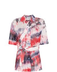 Camisa de manga corta efecto teñido anudado roja de Asai