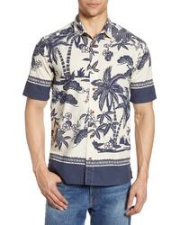 Camisa de manga corta en blanco y azul marino