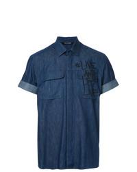 Camisa de manga corta estampada azul marino de Neil Barrett