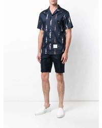 Camisa de manga corta estampada azul marino de Thom Browne