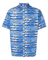 Camisa de manga corta estampada azul de Lanvin