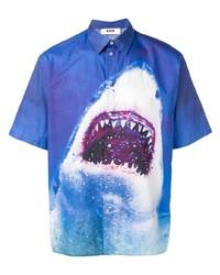 Camisa de manga corta estampada azul de MSGM