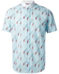 Camisa de manga corta estampada celeste de Commune De Paris