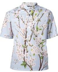 Camisa de manga corta estampada celeste de Dolce & Gabbana