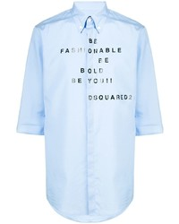 Camisa de manga corta estampada celeste de DSQUARED2