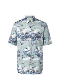 Camisa de manga corta estampada celeste de Lanvin