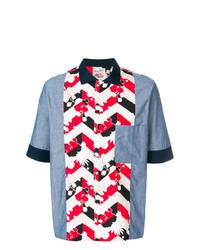 Camisa de manga corta estampada celeste de MAISON KITSUNÉ