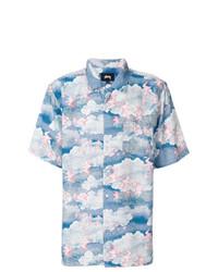 Camisa de manga corta estampada celeste de Stussy