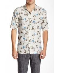 Camisa de manga corta estampada en blanco y azul