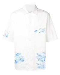 Camisa de manga corta estampada en blanco y azul de Ami Paris