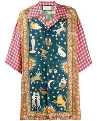 Camisa de manga corta estampada en multicolor de Gucci